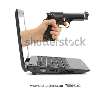 Hand with gun and notebook isolated on white background - stock photo