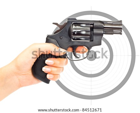 Hand with gun and target isolated over a white background
