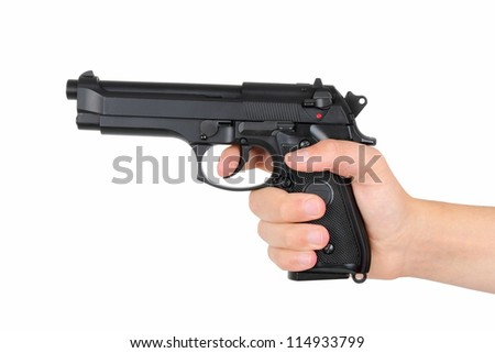 Hand with gun, isolated on white background