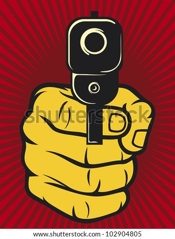 hand with gun (pistol), gun pointed