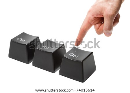 hand with index finger pokes push the delete key, button alt, ctrl