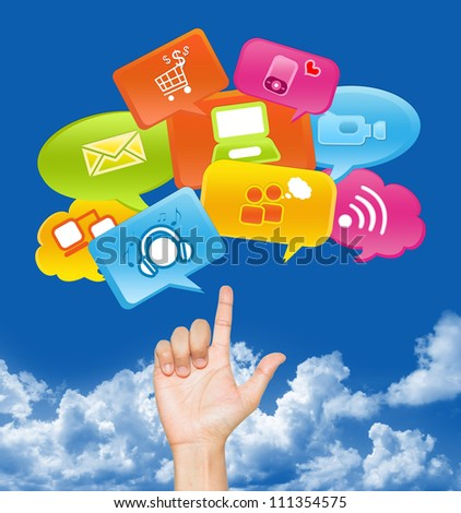 Hand With internet Communication Icon Above in Blue Sky Background For Social Media, Social Marketing or E-Commerce Concept