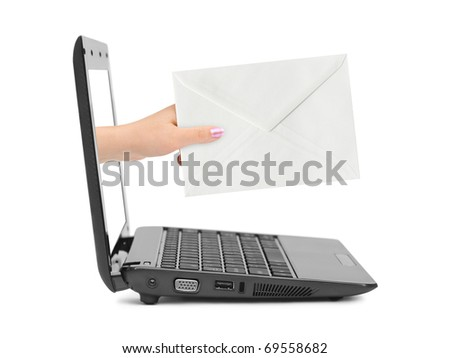 Hand with letter and notebook isolated on white background