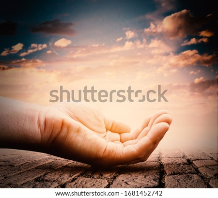 Hand with Magical Glow. Help and Care Symbol.