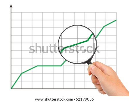Hand with magnifying glass and diagram isolated on white background