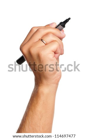 Hand with marker isolated on white background