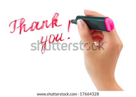 Hand with marker writing Thank You isolated on white background
