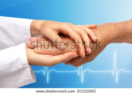 Hand with medical background