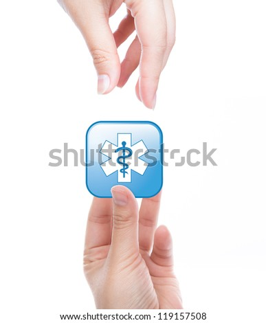 Hand with medical  glossy button