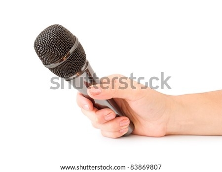 hand with  microphone isolated on white