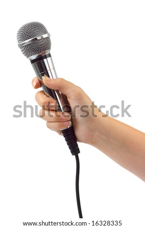 Hand with microphone isolated on white background