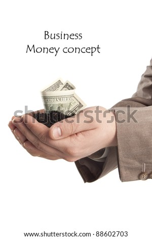 hand with money plant