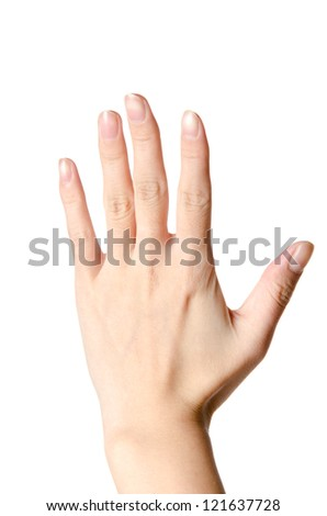 hand with number five isolated