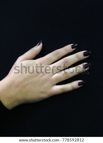 Hand With Painted Nails In Dark Purple On A Black Background Ez Canvas