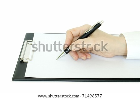 hand with pen writing on the clipboard and white page on it