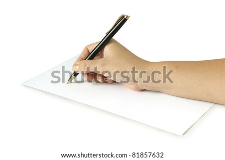 hand with pen writing on the white page