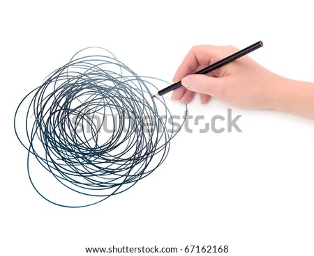Hand with pencil and graphic