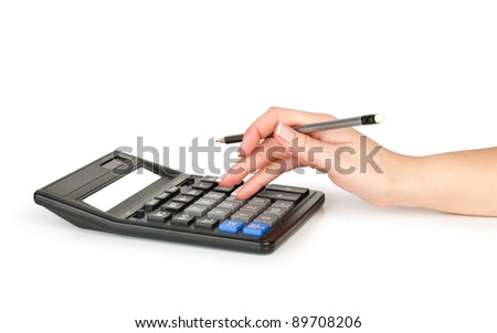 hand with pencil counting on calculator isolated on white