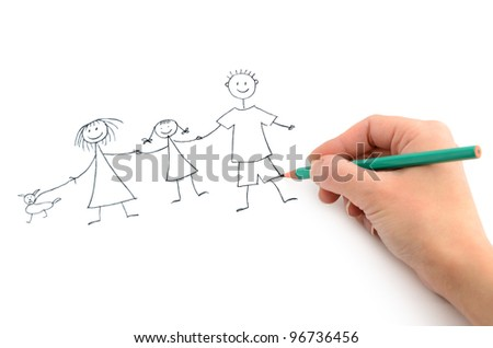 Hand with pencil drawing happy family on the white page