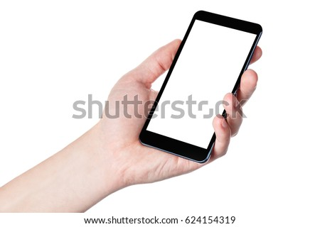 Hand with phone isolated on white background #624154319