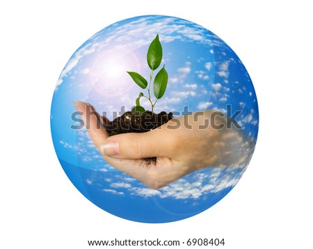 Hand with plant in sphere with sky and clouds