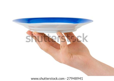 Hand with plate isolated on white background