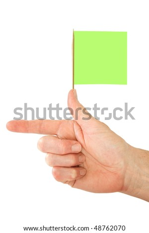 Hand with pointing finger and green flag