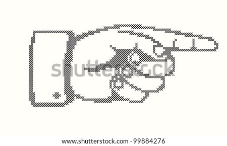 Hand with pointing finger in cross stitches.  Vector version also available in my portfolio.