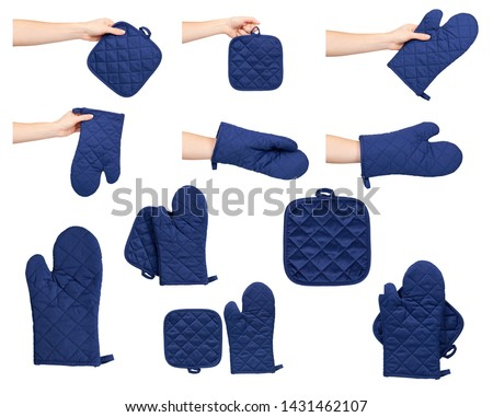 Hand with protective gloves and mitt for backery, set and collection. Isolated on white background