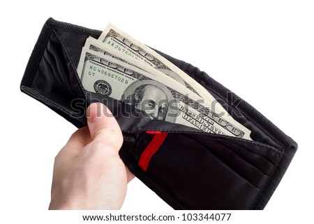 hand with purse and pack of one hundred dollars