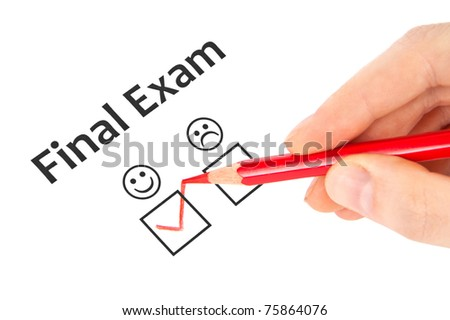 Hand with red pencil estimate Final exam