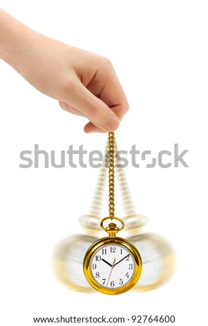 Hand with retro watch and chain isolated on white background