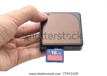 Hand with SD card & card reader isolate on white background