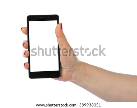 Hand with smartphone isolated on white background #389938051