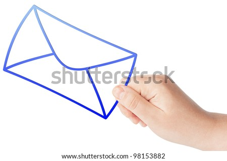 Hand with the blue envelope on the white background