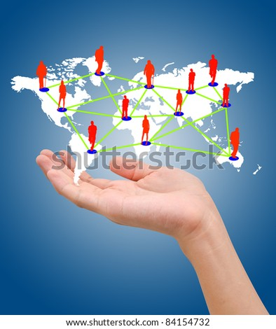 Hand with the map of social network on blue background