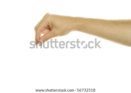 Hand with thumb and forefinger together simulating holding or picking something up, isolated on white background - stock photo