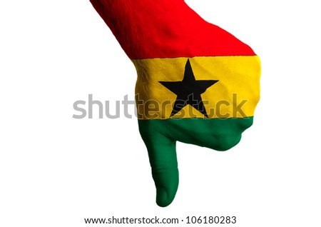 Hand with thumb down gesture in colored ghana national flag as symbol of negative political, cultural, social management of country