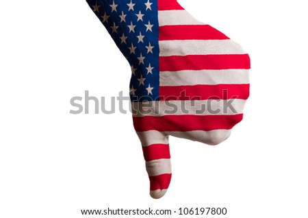 Hand with thumb down gesture in colored us national flag as symbol of negative political, cultural, social management of country