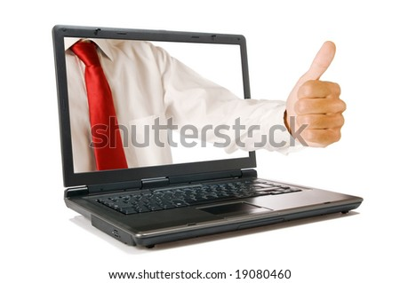 Hand with thumb up come out from a screen of a laptop computer, isolated on white background. Symbol of success and agreement