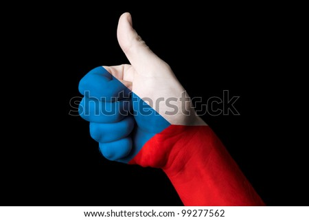 Hand with thumb up gesture colored in czech national flag as symbol of excellence, achievement, good, - useful for tourism and touristic advertising