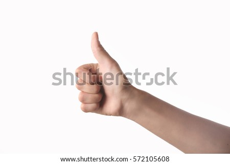 Hand with thumb up isolated on white background #572105608