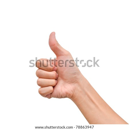 Hand with thumb up on white background
