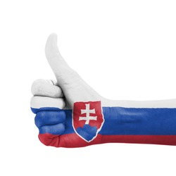 Hand with thumb up, Slovakia flag painted as symbol of excellence, achievement, good - isolated on white background