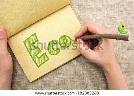Hand with tree trunk pencil writing Eco doodle
