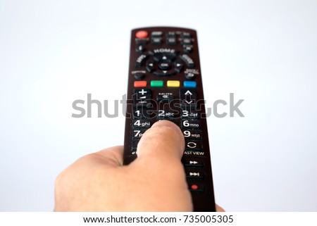 hand with tv remote control isolated on white background