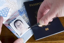 Hand with tweezers holding id photo over passport as if forging the travel documents