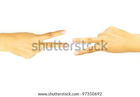 hand with two fingers of the opposite side