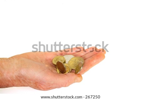 hand with uk coins