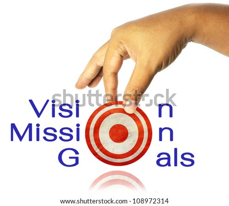 """Hand with """"Vision, Mission, Goals""""  word on white background"""